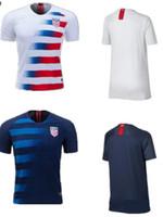 eua futebol americano venda por atacado-Camisas De Futebol 2018 EUA Copa Do Mundo Fora De Casa Personalizada DEMPSEY DONOVAN BRADLEY PULISIC Camisas De Uniforme De Futebol Americano Dos Estados Unidos Jérsei