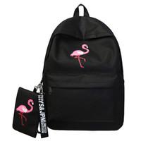 ingrosso borse del computer portatile stampato cartone animato-Zaino firmato Brand Women Simple Flamingo Printing Zaino per ragazze adolescenti Laptop School Bags Mochila 2019