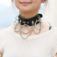 Wholesale sexy leather rope pendant necklaces resale online - Hot sale Night club fashionable trend creative adult jewelry women sexy collarbone chain leather necklace