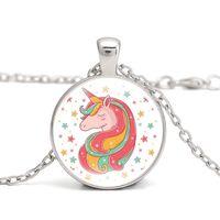ingrosso fascini delle collane dei bambini-Collana con ciondolo a forma di unicorno Collana con ciondolo in vetro cabochon a forma di arcobaleno Collana con ciondoli a forma di cavallo per bambini