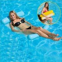 piscinas plegables al por mayor-Piscina inflable Flotante Hamaca de agua Flotador Tumbona Silla de cama flotante Piscina Hamaca inflable Cama Piscina Juguete plegable al aire libre