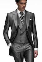 Wholesale shiny tuxedo men resale online - New Morning Style One Button Shiny Gray Wedding Groom Tuxedos Peak Lapel Groomsmen Men Suits Prom Blazer Jacket Pants Vest Tie