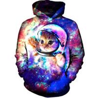 universo hoodie venda por atacado-Abstrato 3D Impressão Verão Rua tyle Hiphop Com Capuz Colorido Moda Hoodies céu Estrelado universo Lindo Gato Bonito Hoodieds