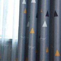 cortinas grises amarillas al por mayor-1 pc 2018 Nuevas cortinas para cortinas de Windows Dibujos animados Gris moderno Impresión para niños Cortina de sombra para sala de estar Dormitorio
