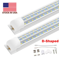 New D-Shaped 8ft T8 Led Tubes Light 4ft 8ft 120W V shaped Led Cooler Door Tubes Lighting Freezer double row shop lights fixture