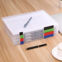 Wholesale paper box files resale online - A4 File Storage Box Clear Plastic Document Cases Desk Paper
