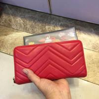 carteras de cuero de calidad al por mayor-2019 marca larga cartera de moda de cuero ondulado mujeres bolso de embrague diseñador de lujo de alta calidad clásico bolsillo con cremallera