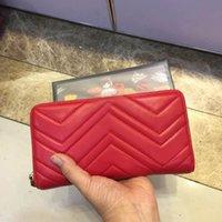zip uzun cüzdan toptan satış-2019 marka uzun cüzdan moda dalgalı deri kadın debriyaj çanta lüks tasarımcı yüksek kalite klasik zip cep