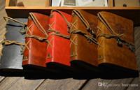capa de diário em branco venda por atacado-Atacado-5PC Vintage Náutico Aplicada Faux Leather Cover Journal Diário Em Branco String Notebook