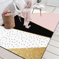 ingrosso tappeti bianchi di tappeti-Moderna geometrica rosa bianco dorato nero polka dots tappetino bagno salotto soggiorno camera da letto decorativa tappetino tappeto