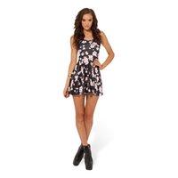 печать сливы оптовых-Женское вздымающееся платье Plum Blossom 3D с полным принтом Девушка с эластичными повседневными плиссированными платьями с зонтиками Леди без рукавов с графическим рисунком (RSkd1034)