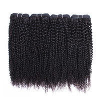 rizado cabello peruano pulgada al por mayor-Tejido de cabello virgen rizado mongol afro rizado 4 paquetes de 10-26 pulgadas de color marrón natural brasileño peruano malasio indio cabello humano