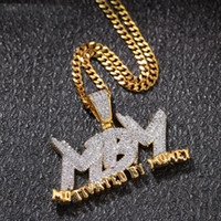 ingrosso collana gocciolante-18K Gold Gated Drip Letter MBM Motivated By Money Collana con pendente a due toni
