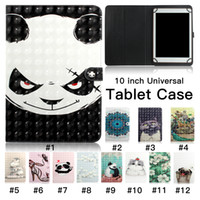 Wholesale general tablet case resale online - 3D Painted Pattern Tablet Case for inch Universal inch General Multi Card Slots Stand Flip Cover Case