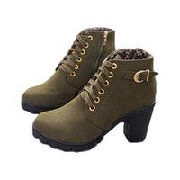 kahverengi ups şort toptan satış-Kadınlar için Womens Yüksek Topuk Ayak Bileği Çizmeler Dantel Up Platformu Topuk Kısa Patik Ayakkabı Siyah Kahverengi