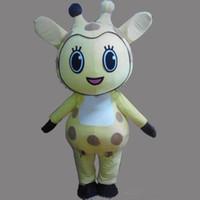 ingrosso grandi giraffe-Sconto vendita di fabbrica Cute Big Eyes Giraffe Formato adulto costume della mascotte Fancy Birthday Party Dress Costumi di Carnevale di Halloween