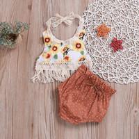 bebek yelek seti toptan satış-2019 Bebek Kız askı Tops 2 adet Suits Setleri Bebek Toddle Sevimli Ayçiçeği Püsküller Backless Yelek Tshirt + Puantiyeli PP Pantolon Gaf Kıyafetler