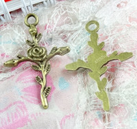 20pcs lily flower Antique Silver Charms Pendants For Jewelry Making DIY 36*33mm