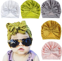 Wholesale crochet bow hat for sale - Group buy Candy Colors Kids Bow Hat Solid Color Beanie Crochet girls Cute Hat New born Hat Cap