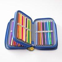 lindos bolsos para la escuela al por mayor-Escuela de la caja de lápiz de 72 hoyos 4 capas Penal pencilcase Kawaii linda sonrisa grande bolso de la pluma de las muchachas del muchacho papelería bolsa de la caja del bolso