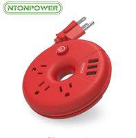 cabo da tira de força venda por atacado-NTONPOWER Original Travel Power Strip USB Cabo de Extensão Portátil Tomada Inteligente Red Donuts Para Presentes de Natal