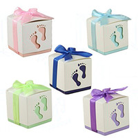 Wholesale wedding chocolate gifts for guests for sale - Group buy Baby Shower Favors Cute Baby Footprint Design Chocolate Packaging Box Candy Box Gift Box for Kids Birthday Baby Shower Guests Wedding Party