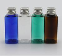 bernsteinfarbene kosmetikflaschen großhandel-quadratische Form Aluminiumdeckelflasche 30ml bernsteinfarbenes PET-Plastikflaschen Kleine Metalldeckelflasche Cosmetic Leeres Glas Nachfüllbare Verpackung