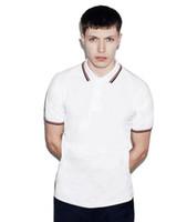 fred jersey großhandel-London Brit Herren Polo Shirt Herren Weiß Hochwertige Baumwolle Streifen Kragen Fred Trikots Twin Tipped Herren Perry Solid Polo Shirts Grau