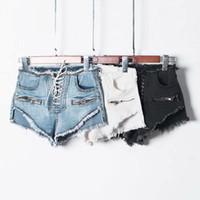 koreanische jeans-shorts großhandel-Sommer Reißverschluss sexy hohe Taille Shorts weiblich blau schwarz weiß schnüren koreanische Jeansshorts lässig Tunnelzug Jeans