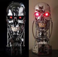 göğüs şekilleri toptan satış-[ÜST] Çoğaltma Reçine Terminator T800 1: 1 Ölçekli Kafatası Endoskeleton Lift-Boyut Büstü Şekil ışık LED GÖZ T-800 T2 heykeli modeli