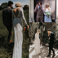 Wholesale fitted sexy wedding dresses resale online - Form fitting Bohemian Wedding Dress vintage style plunging back line Bridal Gowns long sleeve Nude Lining Vestido De Noiva