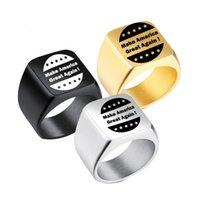 geschenke machen für männer großhandel-Donald Trump Wahl Geschenk Ringe Silber Schwarz Edelstahl Ringe Männer Schwarz Titan Machen Amerika Große Wieder Ring MMA1718