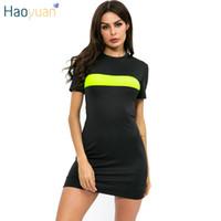 neon kadın giysileri toptan satış-HAOYUAN Seksi Siyah T Shirt Elbise Yaz Giysileri Kadınlar için Mini Vestidos Neon Yeşil Splice Causual Kısa Kollu Bodycon Elbiseler