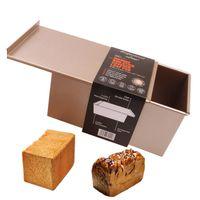 ekmek örtüsü toptan satış-Dikdörtgen Büyük Tost Ekmek Kalıp Kutusu Çocuklar Için Kapak Ile Doğum Günü Pastası Pişirme Pasta Tatlı Kalıp Dekorasyon Araçları