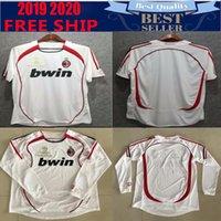 nombre de camiseta de fútbol personalizado al por mayor-2006 retro ac milan camiseta de fútbol Retro 06 LONG KAKA Maldini Inzaghi Pirlo Nesta camisa Personalizar nombre