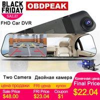 ручная тире камера оптовых-Супер Автомобильный видеорегистратор Dash Camera White Mirror 4,3 дюйма HD 1080P Английский Русский Dual Len Камера заднего вида Зеркало заднего вида Авто-рекордер