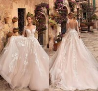 Wholesale size 14 summer wedding dress for sale - Group buy Luxury Blysh Pink Long sleeves Lace Appliqued Wedding Dresses Vintage Plus Size A line Sweep Train Winter Bridal Gown BC2558