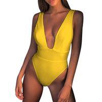 biquíni amarelo do sutiã venda por atacado-Mulheres Biquíni Conjunto Swimwear Push-Up Acolchoado Sutiã Sólida Swimsuit Beachwear Confortável sexy amarelo profundo v Siamese praia swimwear