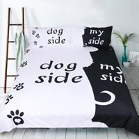 ingrosso letti cani bianchi neri-Set di biancheria da letto in bianco e nero per cani Singolo doppio King Size 2 / 3pcs per tessuti per la casa Abito da letto in stile semplice 2019 nuovo