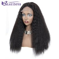 fechamento brasileiro do laço 24 polegadas venda por atacado-Kinky Hetero Lace Wig Encerramento 4 * 4 perucas polegadas de rendas de cabelo humano brasileiro perucas Remy Lace Encerramento perucas de cabelo humano para mulheres