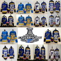 ingrosso 91 louis jersey-Stemma della Stanley Cup 2019 St. Louis Blues 50 Binnington 55 Colton Parayko 90 Ryan O'Reilly 91 Vladimir Tarasenko Maglie da hockey