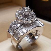 conjuntos de anillos de boda clásicos al por mayor-Clásico conjunto de anillos de compromiso romántico 925 anillos de boda de compromiso de diamante de plata esterlina para mujeres hombres regalo de la joyería