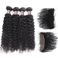 Wholesale kinky curly hair 4pcs closure for sale - Group buy Peruvian Hair Weave Brazilian Human Hair Bundles With Closure Kinky Curly With Lace Frontal Virgin Hair Extensions