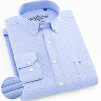 algodão botão para baixo camisas para homens venda por atacado-Design floral 2019 Novo Button-down Impresso Oxford Homens de Algodão Camisas Casuais de Negócios de Manga Longa Estilo Americano Homens Camisas de Vestido