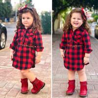 baby roter gürtel großhandel-Baby Mädchen Plaids Kleid 2019 Neue Herbst Langarm Revers Plaid Shirts Kleider INS Kinder Niedlich Casual Red Plaid mit Gürtel Kleid Kleidung