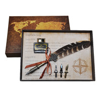 juegos de bolígrafos de tinta al por mayor-Al por mayor- 3 estilos Retro Feather Quill Pen Set Harry Potter Quill Pen con Pen 4 Nib Ink Box Gift Box