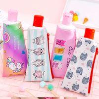 crayons de stylos coréens mignons achat en gros de-Dentifrice Creative cuir Crayon Cas Mignon Licorne Hibou chat grand Stylo Sac Kawaii Bureau Fournitures Scolaires Papeterie Coréenne