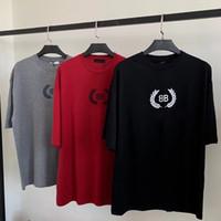 algodão impresso venda por atacado-BLCG Trigo LOGOTIPO Impresso Moda Tee Nova Tendência Logotipo BB T-shirt de Algodão de Manga Curta Tee Homens Wome Verão T-shirt HFLSTX412