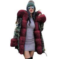 ingrosso cappotti di lana caldo-vendita calda nuovo inverno tenere in caldo cappotto Donne mimetica tuta sportiva sottile parka lungo di lana bavero del cappotto con cappuccio con giacca di cotone imbottito