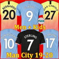 aguero hombre ciudad al por mayor-19 20 camiseta de fútbol Manchester City 2019 2020 G. JESÚS MAHREZ DE BRUYNE KUN chandal de fútbol AGUERO MENDY HOMBRE hombres + kit niños de la soccer jersey football shirt